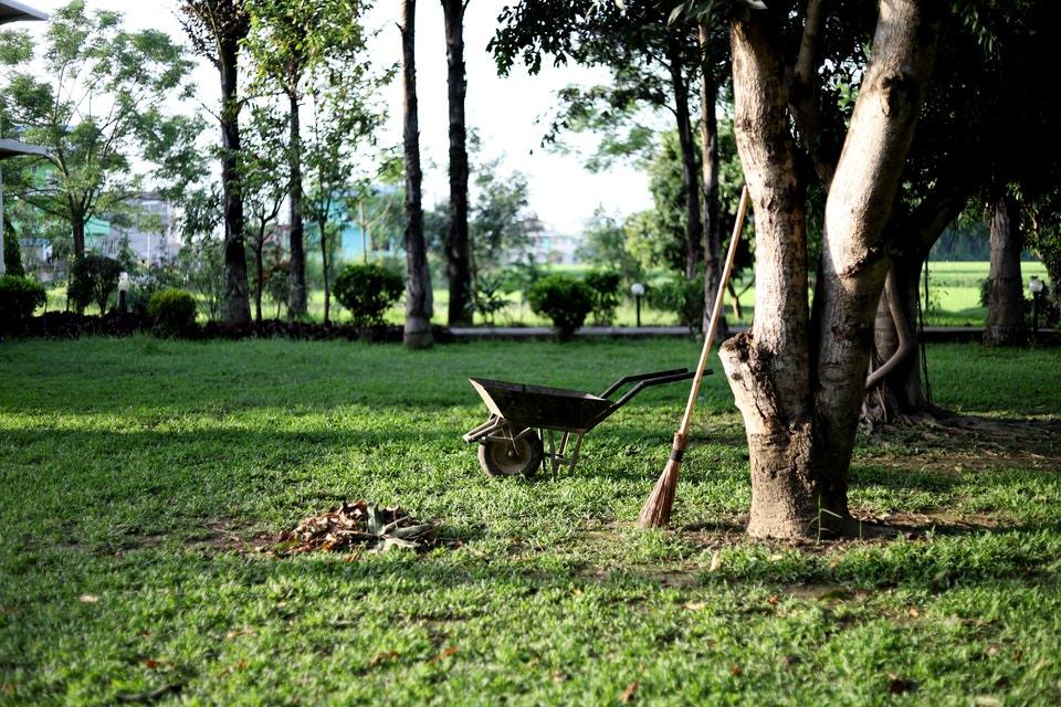 Importação de Produtos de Higiene Jardim de propriedade com imagem de carrinho de mão e vassoura